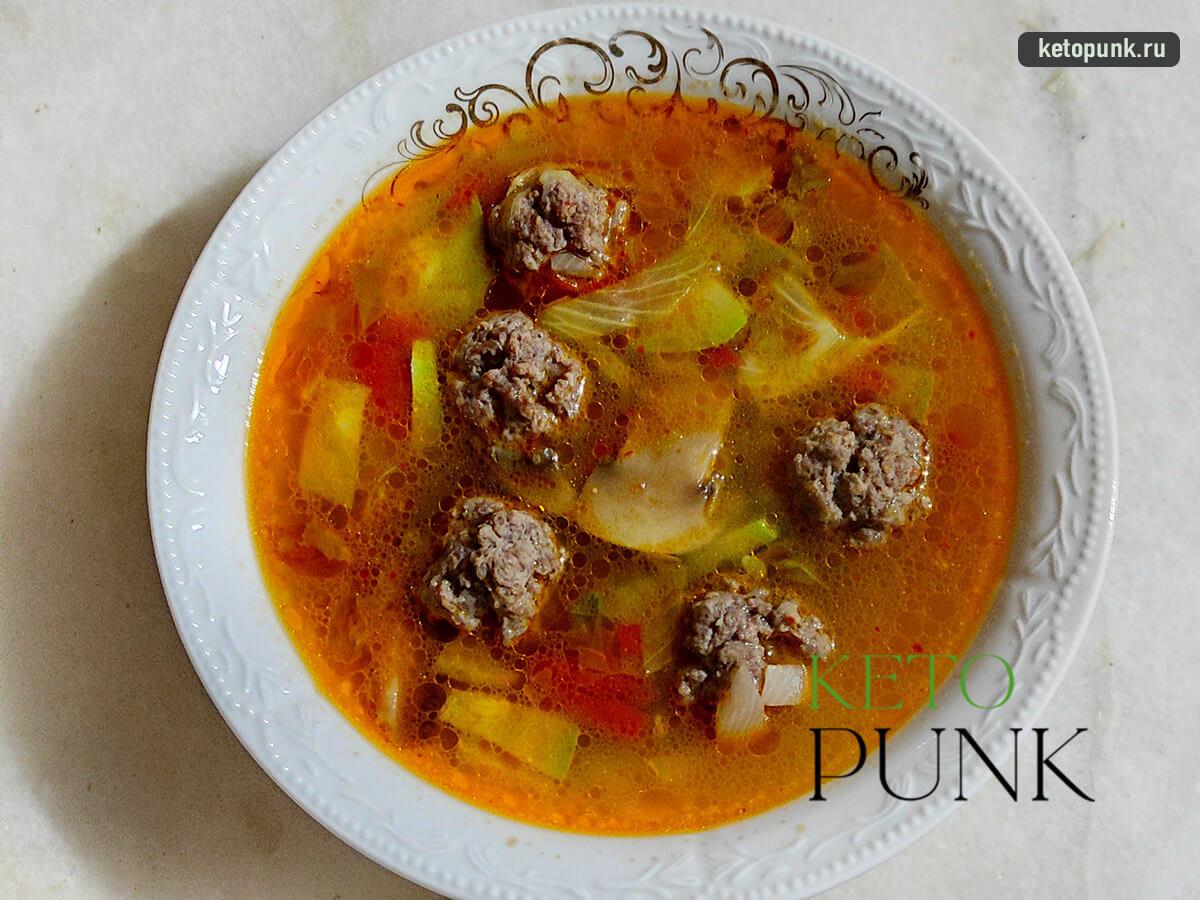 кето-суп с фрикадельками